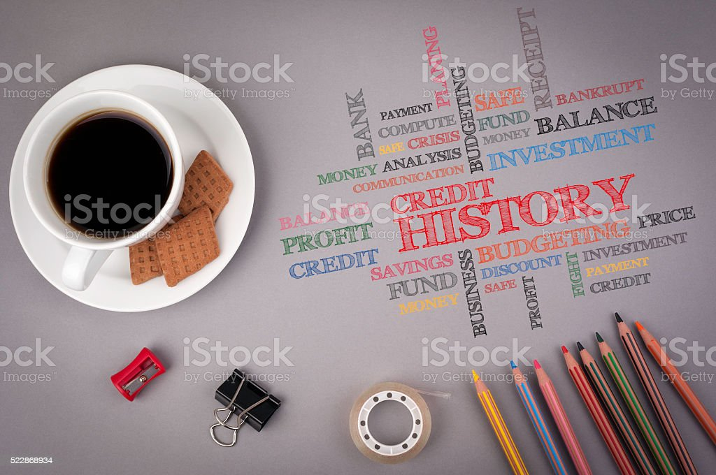CREDIT HISTORY word cloud, business concept stock photo