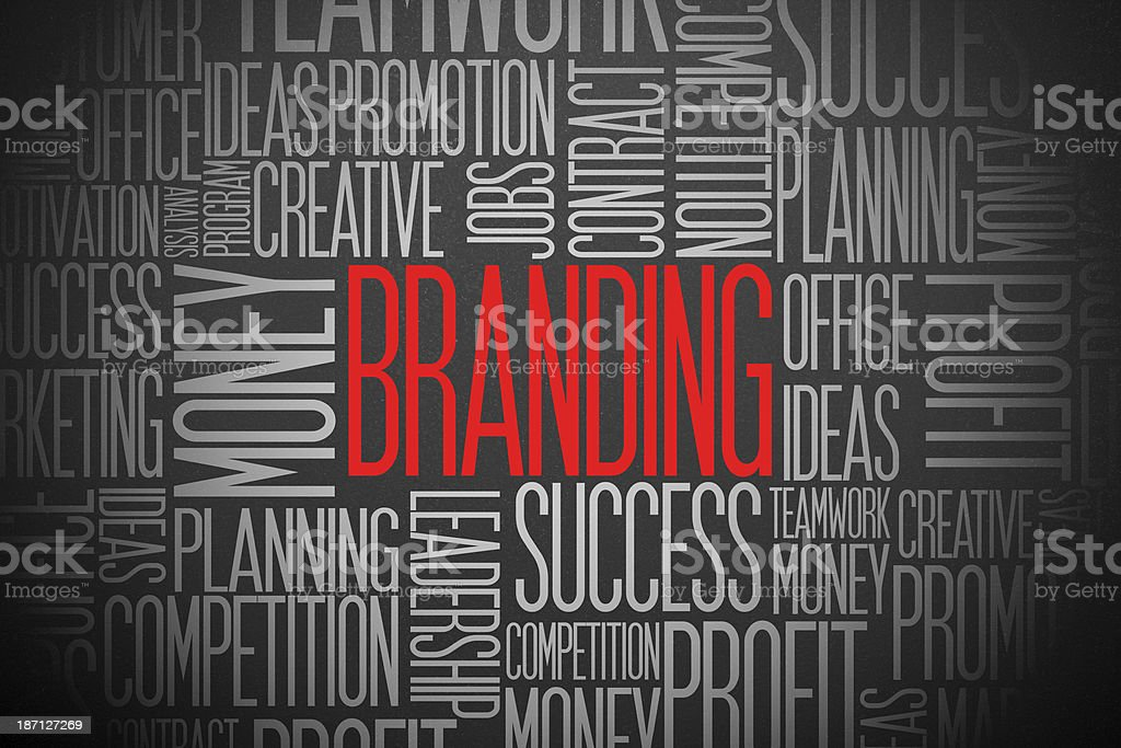 Word cloud concept for BRANDING in red, white and black royalty-free stock photo