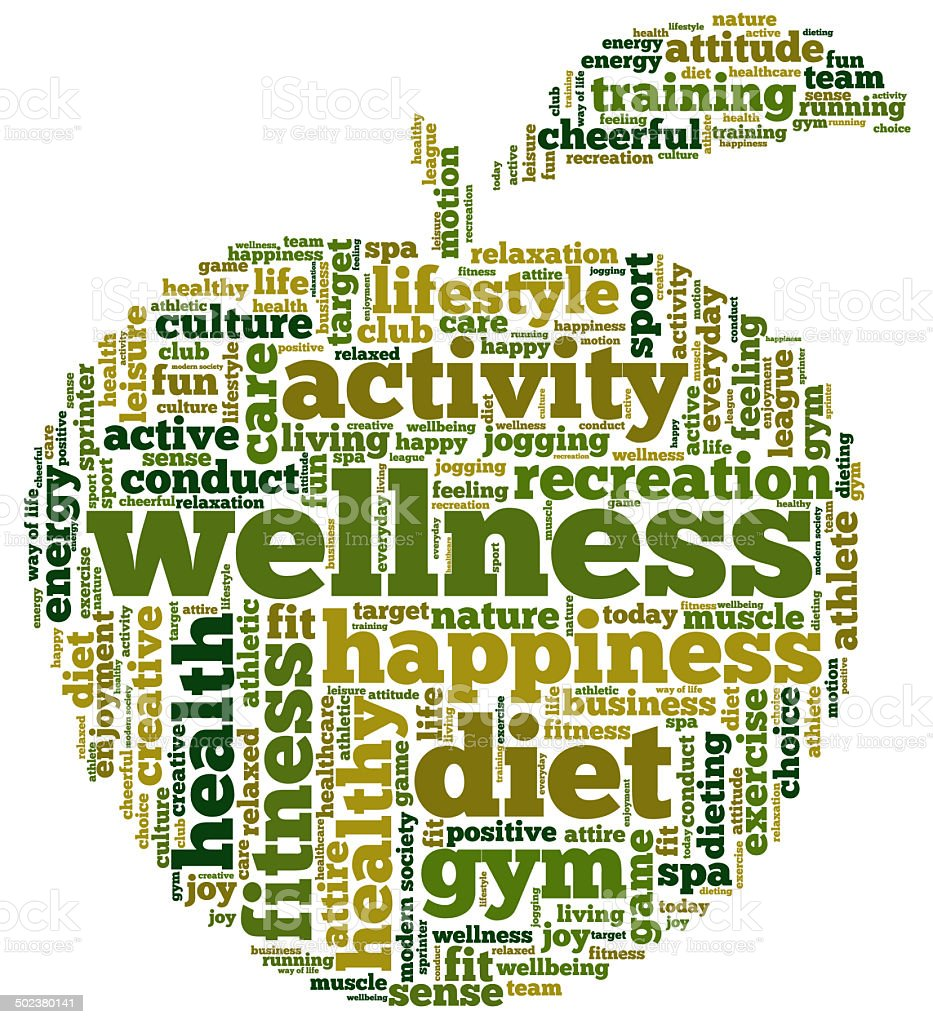 Word cloud containing words related to health stock photo