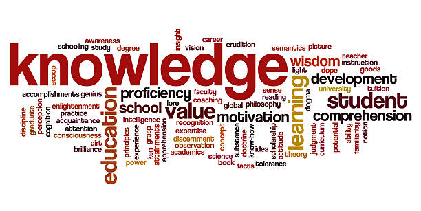 Word cloud containing words related to knowledge stock photo