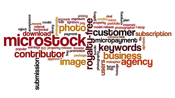 word cloud containing words related to microstock - contributor stock pictures, royalty-free photos & images