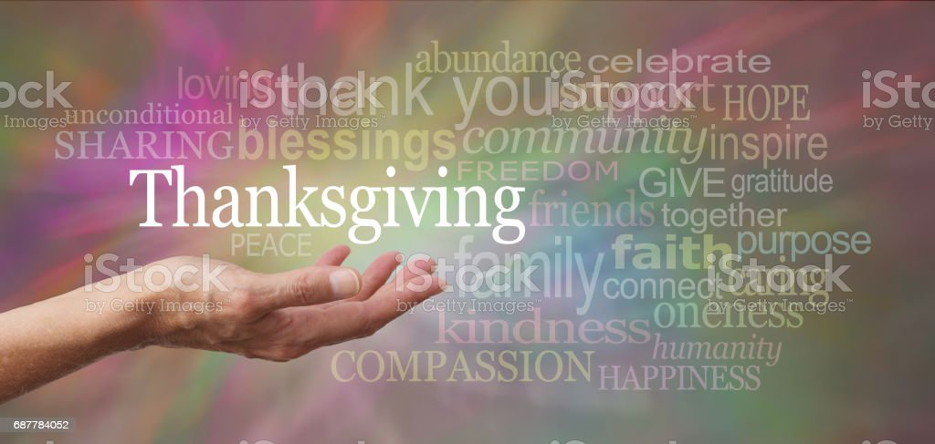 A word cloud for Thanksgiving stock photo