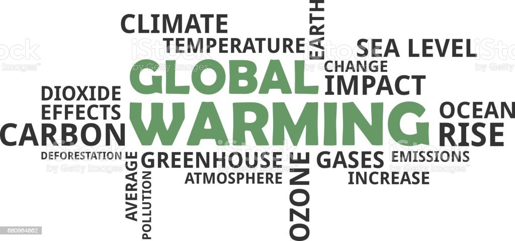 word cloud - global warming stock photo