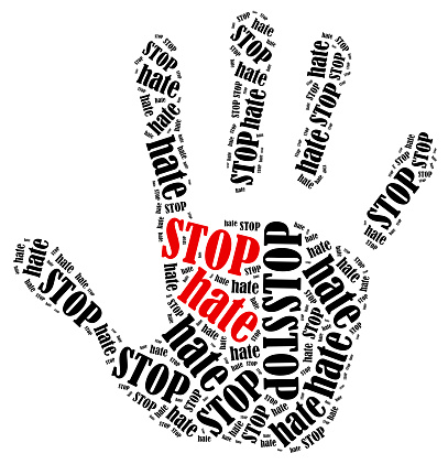 Stop hate. Word cloud illustration in shape of hand print showing protest.