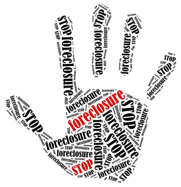 palabra nube ilustración en forma de mano mostrando protesta de impresión. - embargo hipotecario fotografías e imágenes de stock