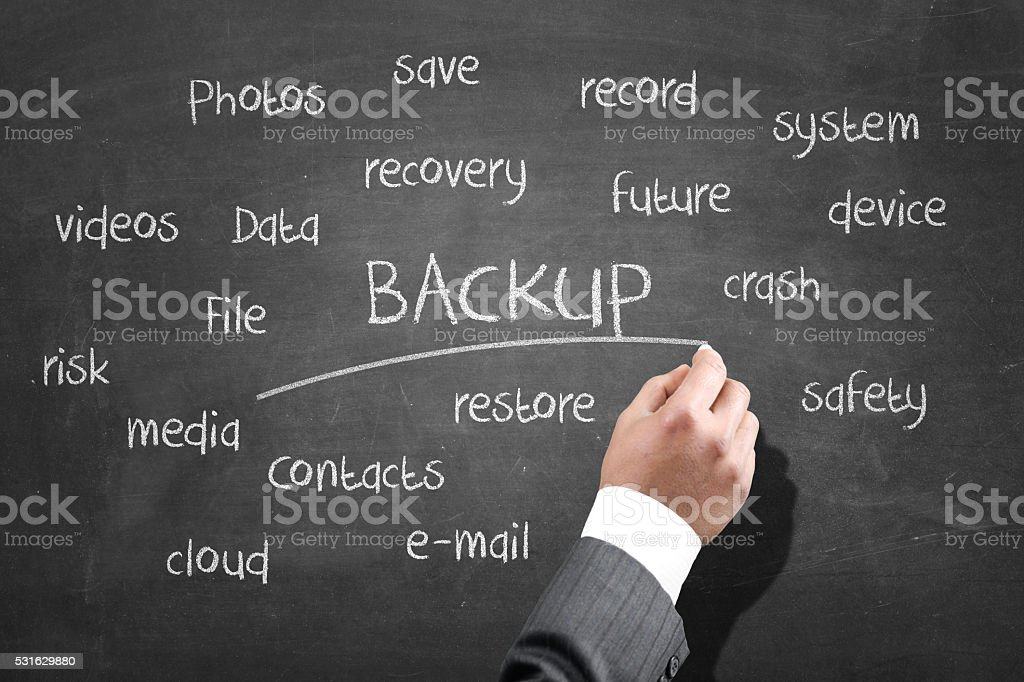 Word cloud of backup stock photo