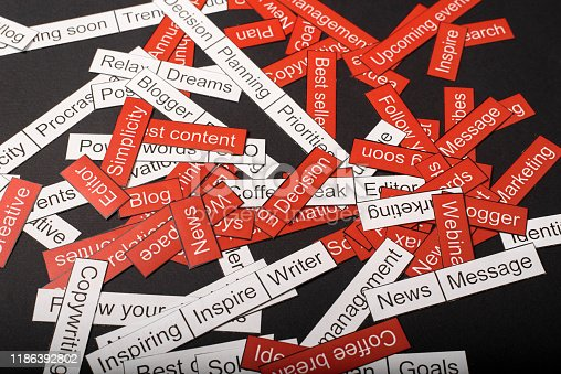 istock Word cloud of business themes cut out of red and white paper on a gray background 1186392802