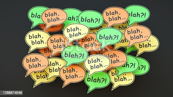 A word cloud of confusing speech bubble notes.