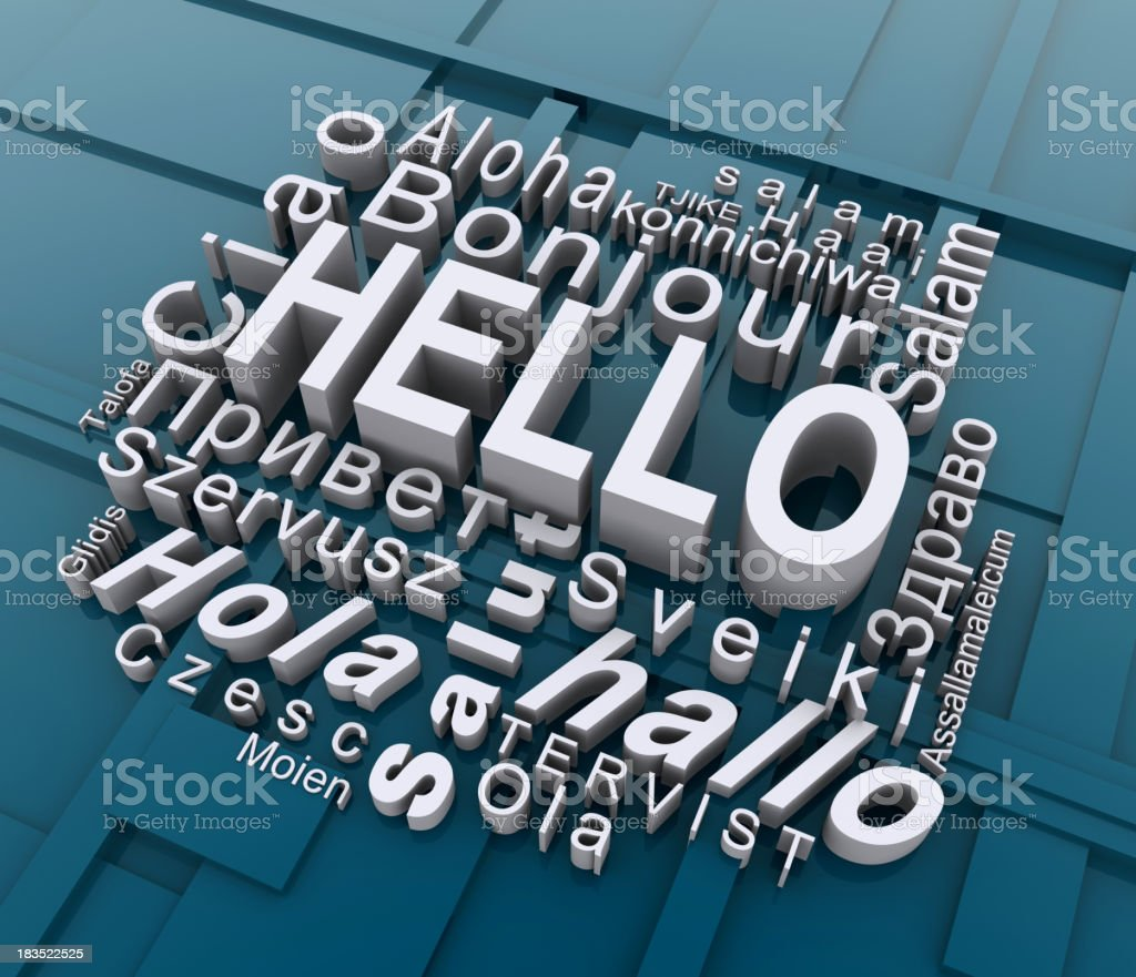 Word cloud of hello in different languages royalty-free stock photo