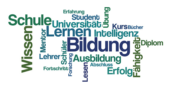 Word Cloud on a white background - Education in german - Bildung