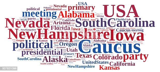 507831160 istock photo Word cloud on the Caucus in the US. 507831098