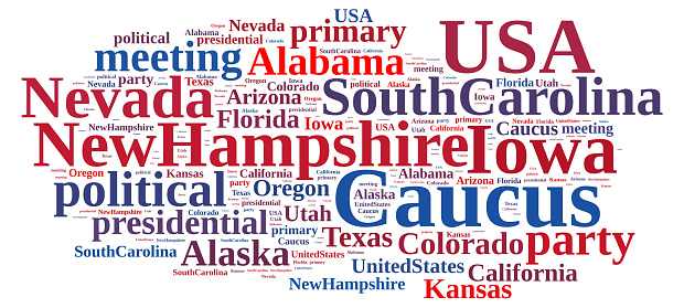 istock Word cloud on the Caucus in the US. 507831098