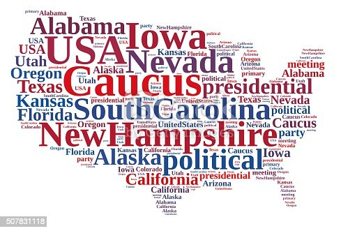 istock Word cloud on the Caucus in the US. 507831118
