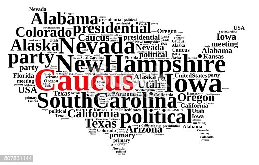 istock Word cloud on the Caucus in the US. 507831144