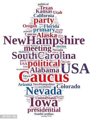 istock Word cloud on the Caucus in the US. 507831160