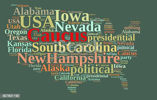 istock Word cloud on the Caucus in the US. 507831192