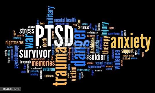 PTSD - post traumatic stress disorder. War veteran mental health issue. Word cloud sign.