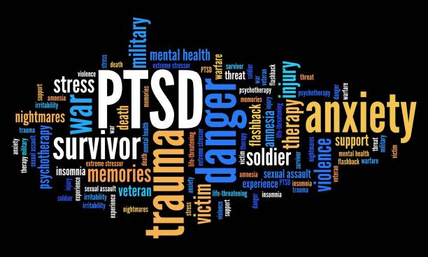 PTSD word cloud PTSD - post traumatic stress disorder. War veteran mental health issue. Word cloud sign. post traumatic stress disorder stock pictures, royalty-free photos & images