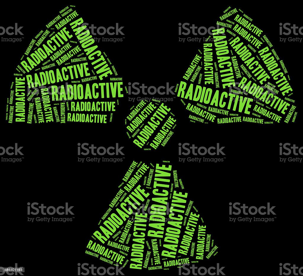 Word cloud radioactivity or chemical waste related stock photo