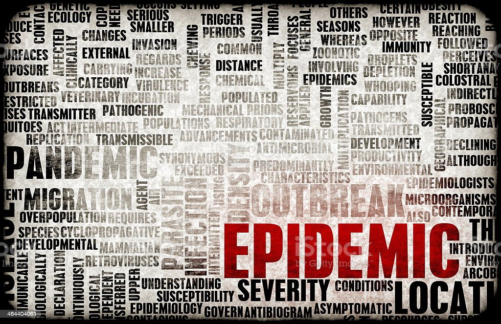 Word cloud relating to an epidemic stock photo