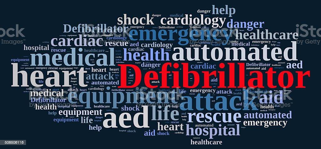 Word cloud relating to Defibrillator. stock photo