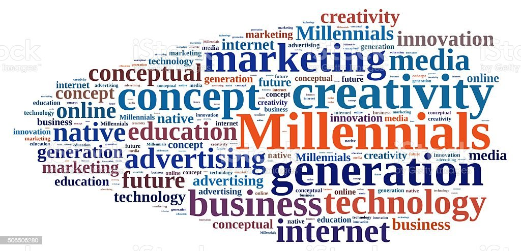 Word cloud relating to Millennials. stock photo