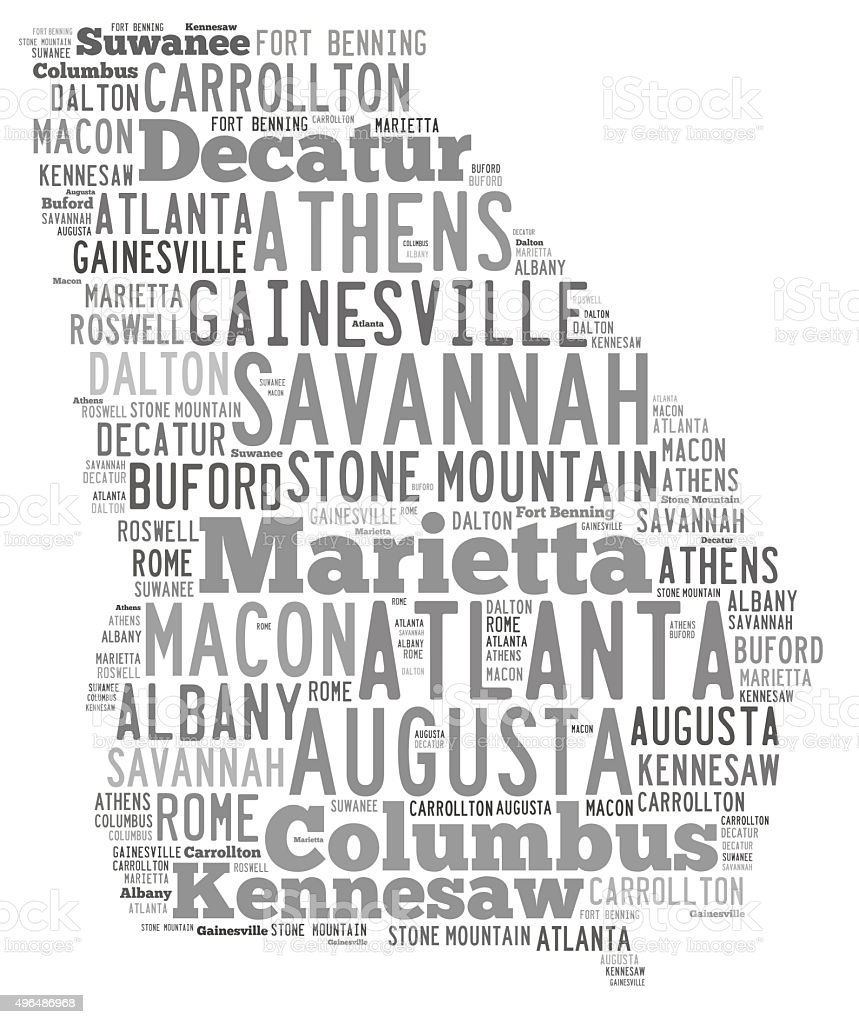 Word Cloud showing cities in Georgia stock photo