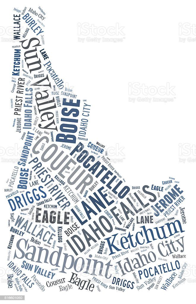 Word Cloud showing cities in Idaho stock photo