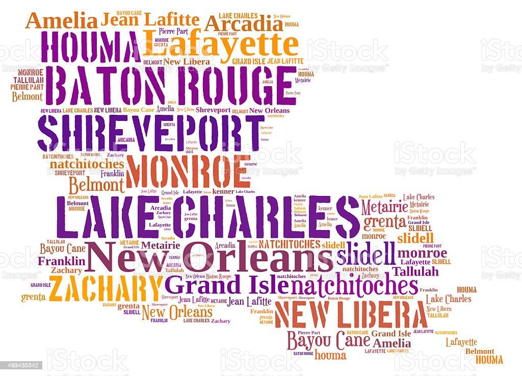 Word Cloud showing cities in Louisiana stock photo