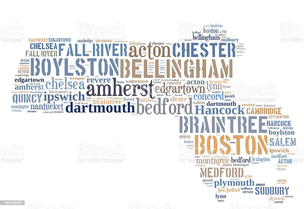 Word Cloud showing cities in Massachusetts stock photo