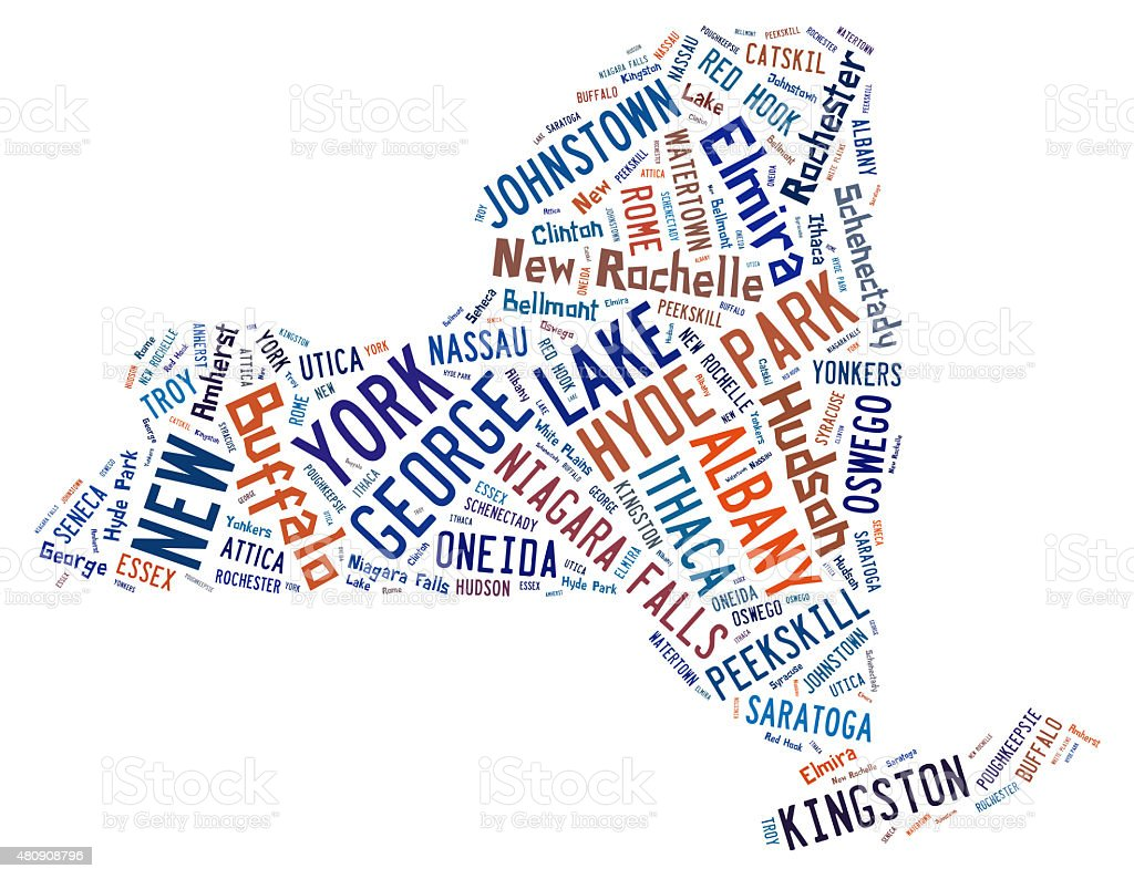 Word Cloud showing the cities in New York stock photo