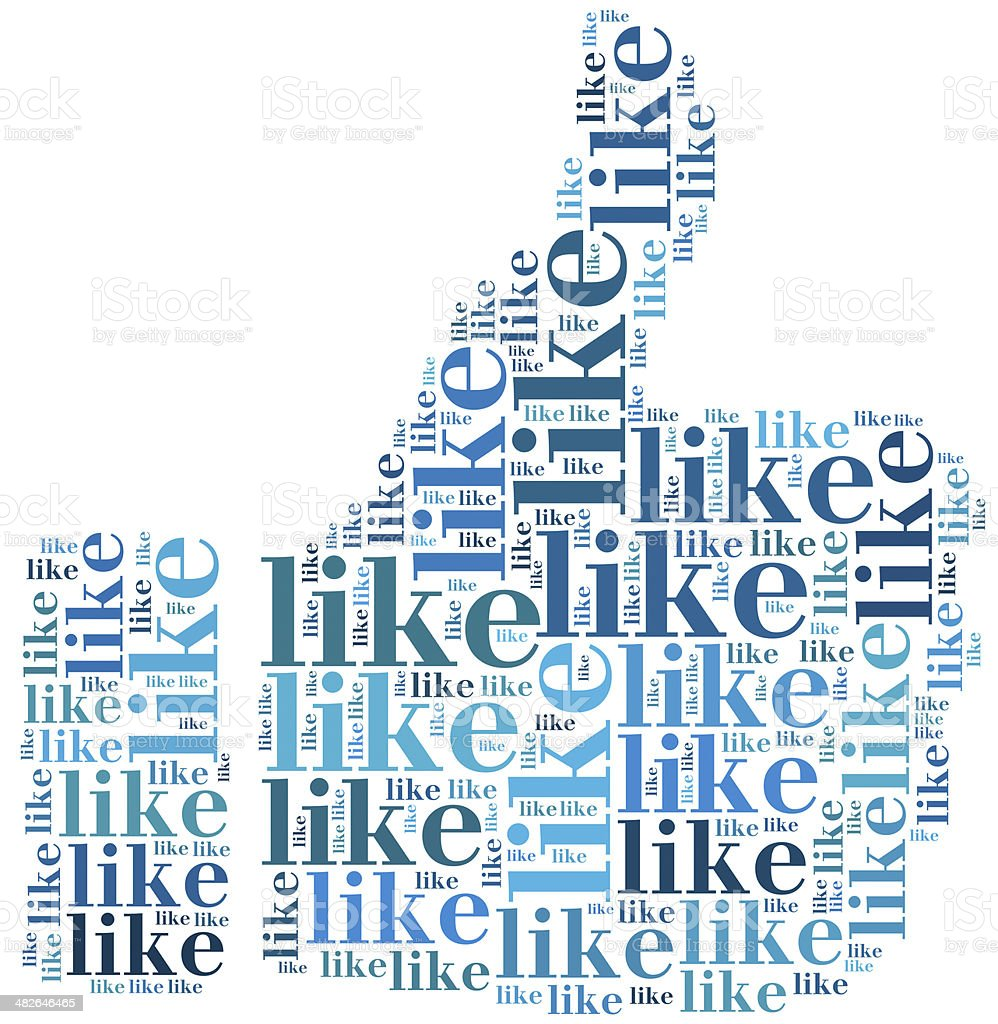 Word cloud social media related in shape of thumb stock photo