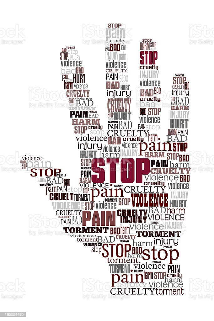 Word cloud stop violence stock photo