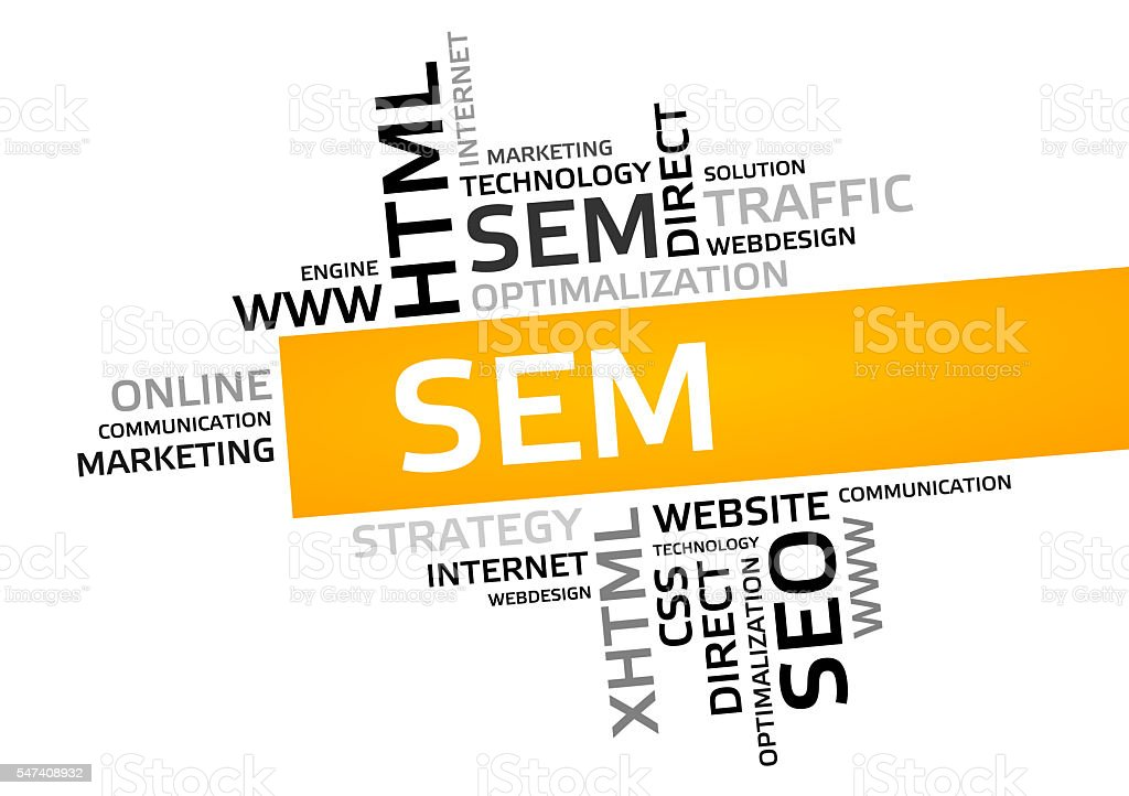 SEM word cloud, tag cloud, graphic stock photo