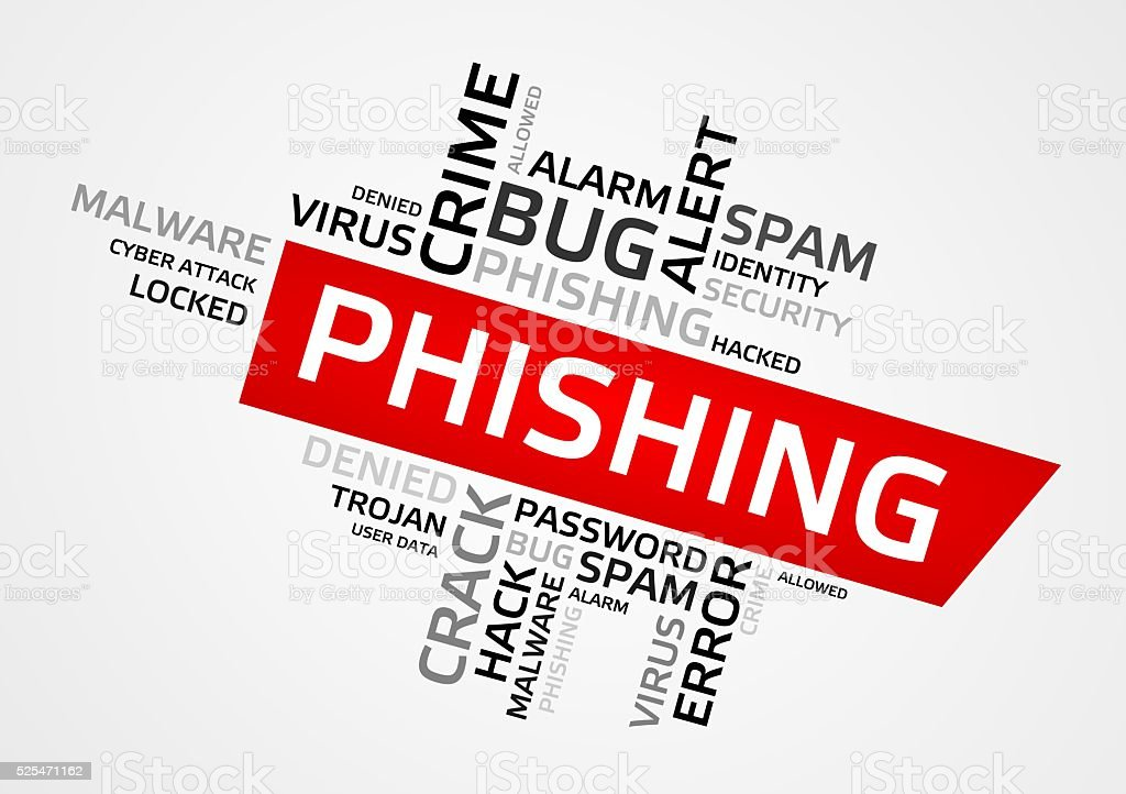 PHISHING word cloud, tag cloud, graphics stock photo