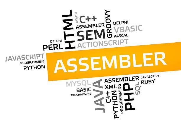 assembler word cloud, tag cloud, vector graphic - tag vector imagens e fotografias de stock