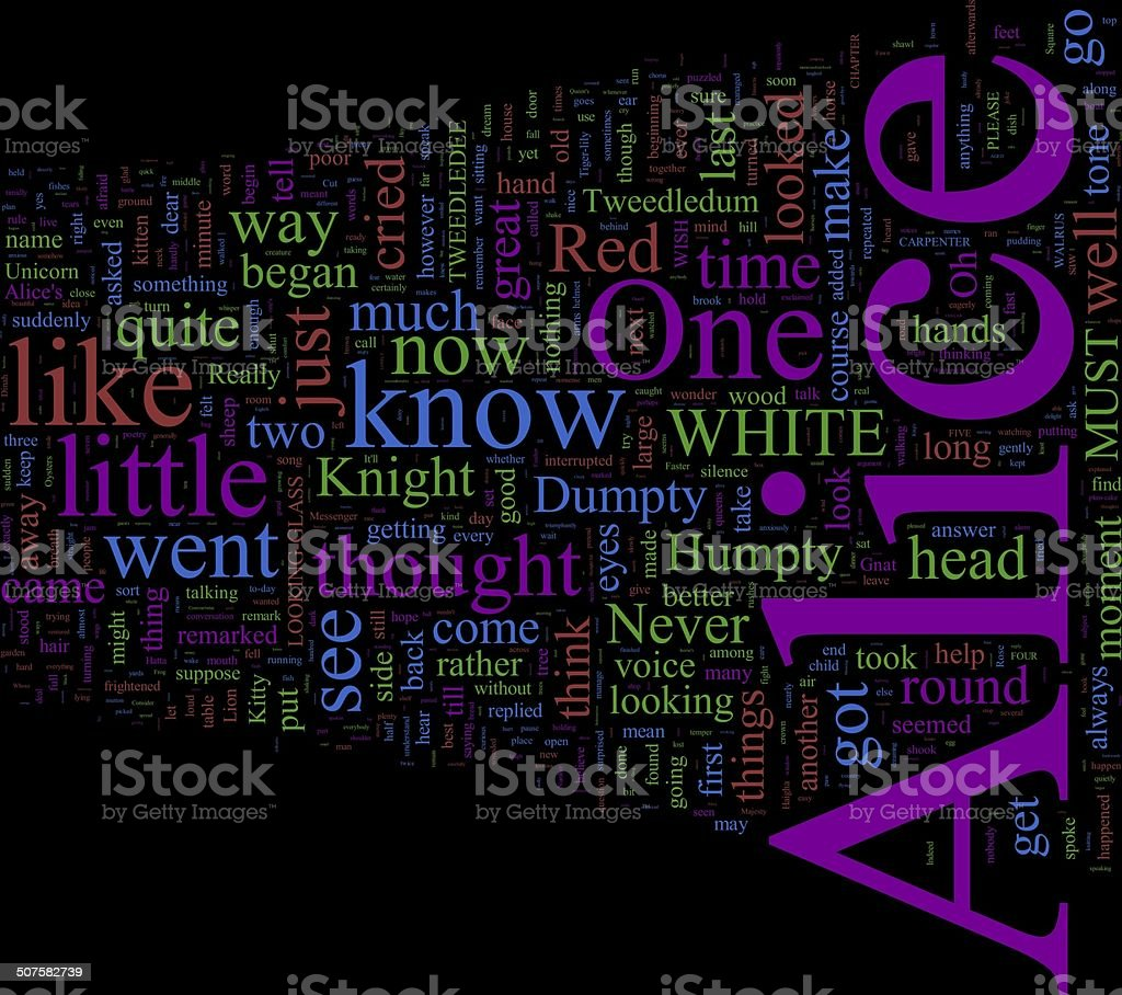 Word Cloud - Through the Looking-Glass stock photo