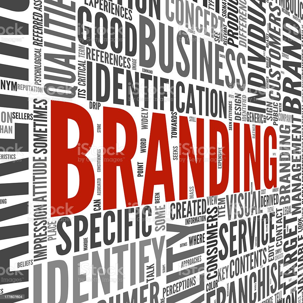 A word cloud with branding concept stock photo