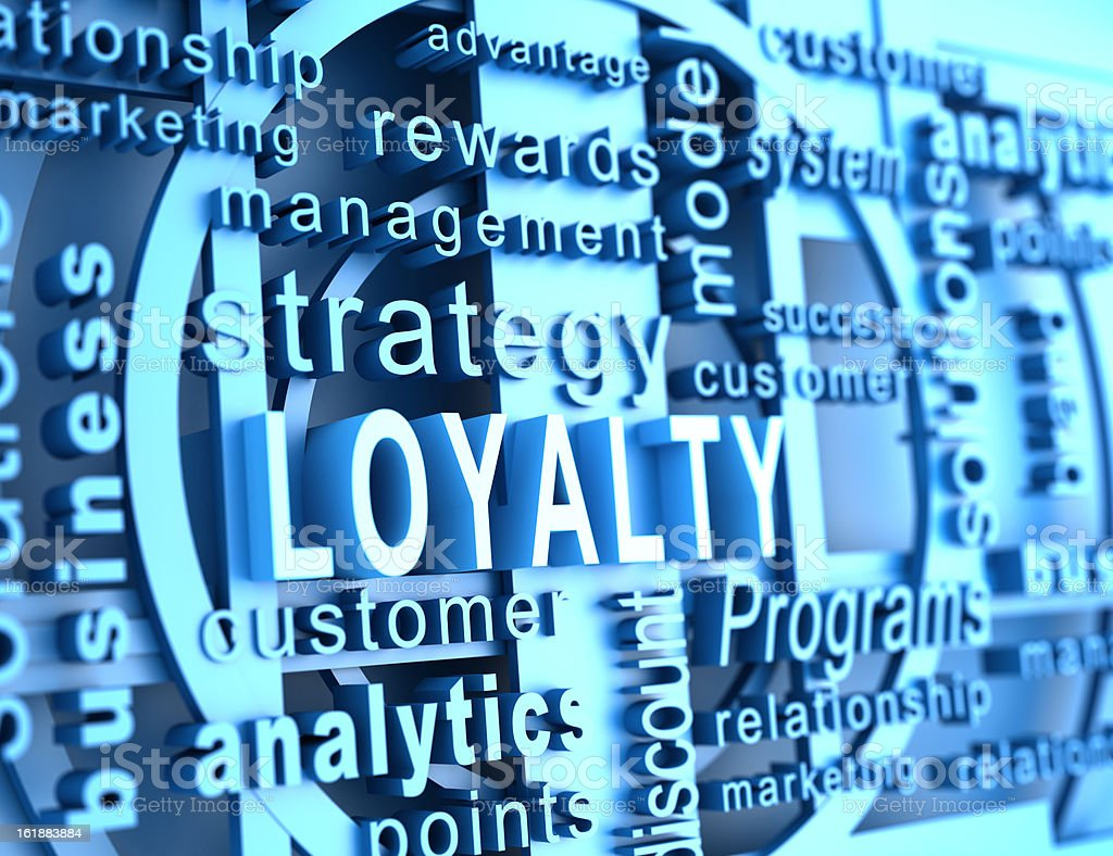 Word cloud with loyalty in blue royalty-free stock photo