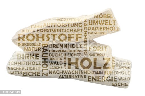 Word cloud with three pieces of wood as background and relevant german keywords on the subject of raw material wood isolated on white background