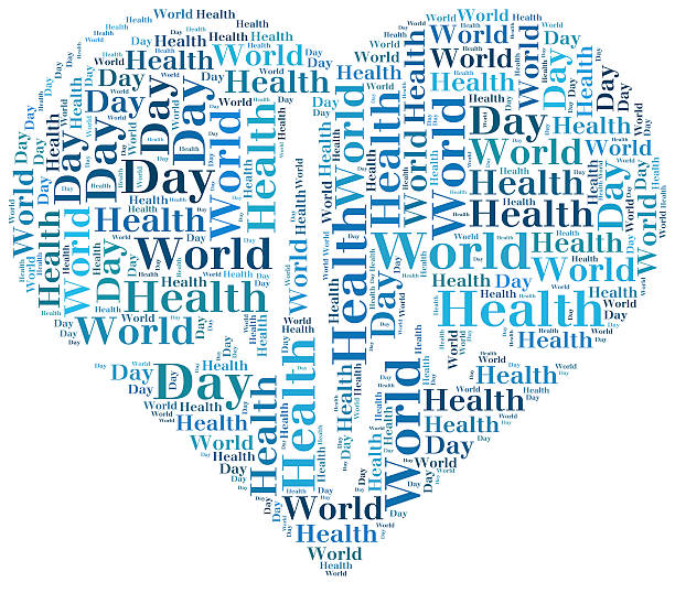 Word cloud World Health Day related in shape of heart Word cloud World Health Day related in shape of heart with heartbeat world health day stock pictures, royalty-free photos & images