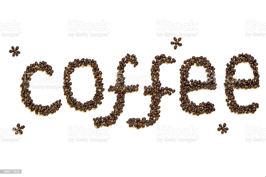 Word 'Coffee' made of roasted coffee beans isolated on a white background stock photo
