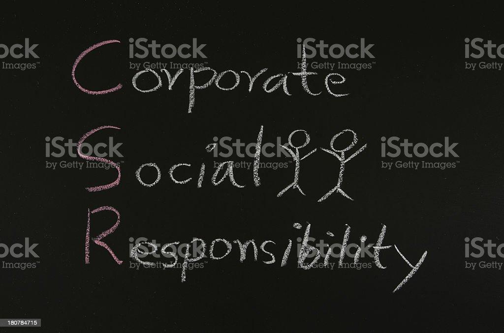 word 'CSR concept' on blackboard royalty-free stock photo