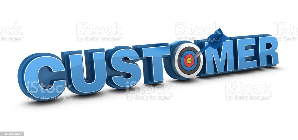 3D Word CUSTOMER with Target and Dart royalty-free stock photo