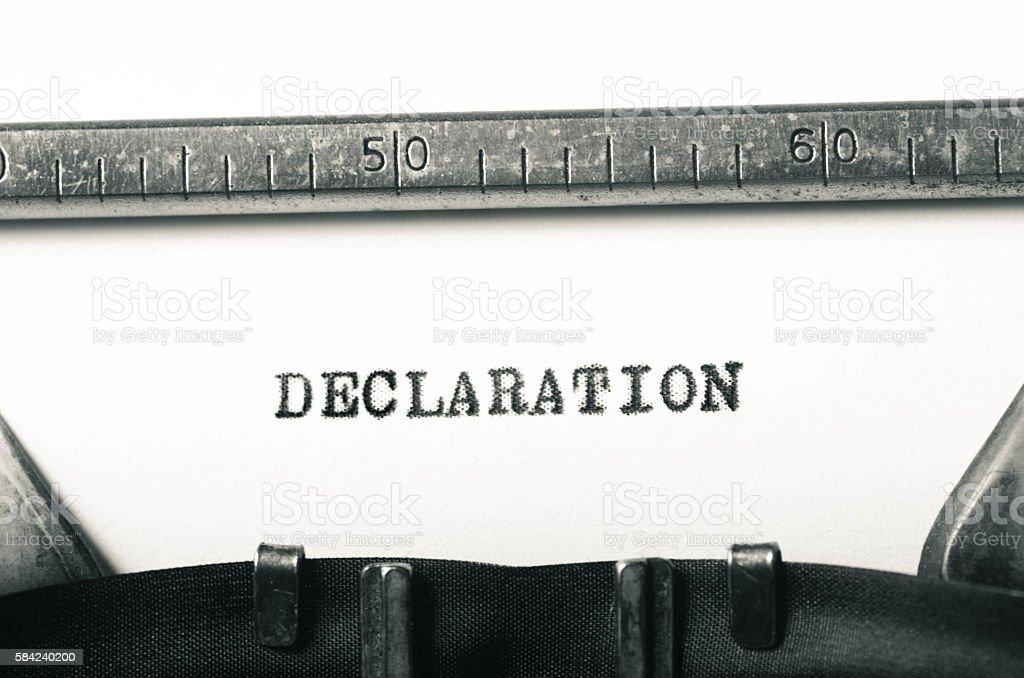 word declaration typed on typewriter stock photo