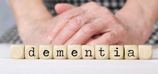Word DEMENTIA composed of  wooden dices. stock photo