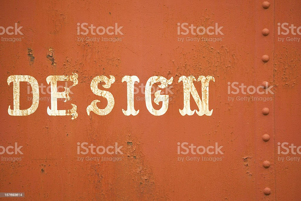 Word Design, Old Fashioned Lettering on Rusted Metal stock photo