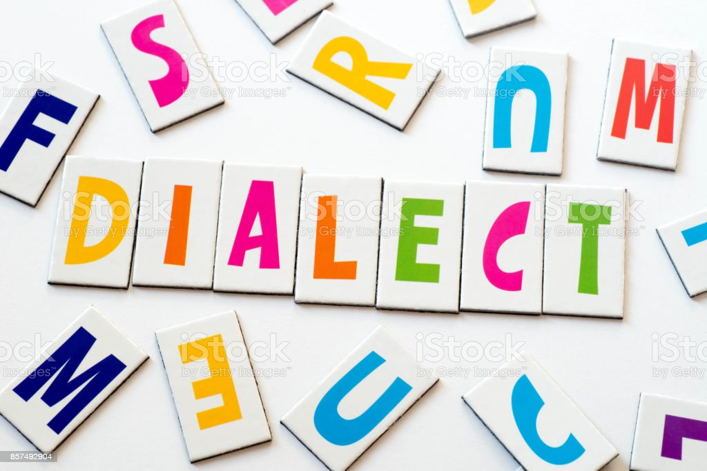 word dialect made of colorful letters stock photo