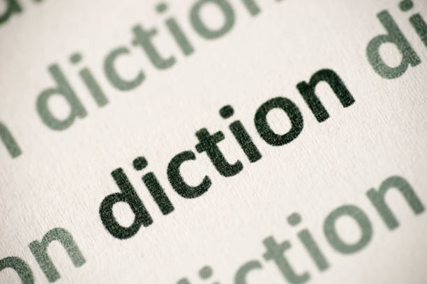 word diction  printed on paper macro - diction stock pictures, royalty-free photos & images