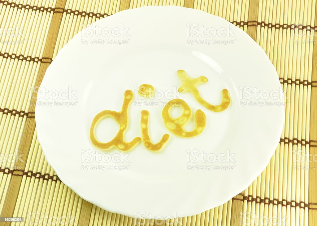Word DIET on White Plate royalty-free stock photo
